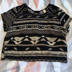 Lovely Day Black and Tan crop top t